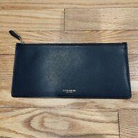Coach Leather Slim Zip Envelope Insert Pouch Wallet Clutch Black