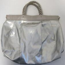 2b72270bd345 SALVATORE FERRAGAMO Silver Metallic Muted Patent Leather   Leather Satchel