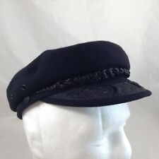 Black Greek Fisherman's Cap Sailor Fiddler Captain Cap Hat Made Greece SIZE 7 56