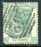 China 1865 Hong Kong 24¢ Green Blue QV Wmk CCC SG #13 VFU W699 ⭐⭐⭐⭐⭐⭐