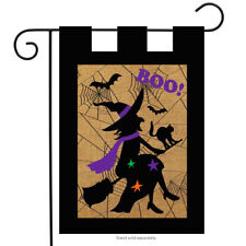 "Halloween Witch Burlap Garden Flag Boo Bats Black Cat 12.5"" x 18"""