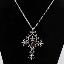 Retro Gothic Vampire Diaries Red Sacred Love Memorial Cross Pendant Necklace HS