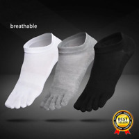 6 Pairs Men's Cotton Toe Five Finger Breathable Socks Solid Ankle Sports Low Cut