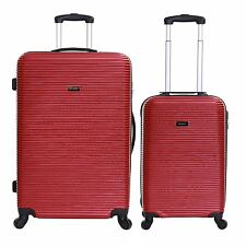 Karabar Set of 2 Hard Plastic 4 Wheeled Luggage Trolleys Suitcases Cases Bags