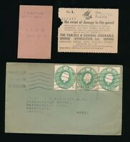 GB KG5 1929 STATIONERY CUT OUTS +INSURED PARCEL RECEIPT BIRD ILLUST.to CAMBERLEY