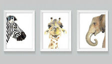 Set of Three Safari Animal Print Set watercolour art nursery prints painting