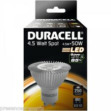 4 PACK OF 4.5w=50w DURACELL LONG LIFE LED GU10 LOW ENERGY SAVING SPOT LIGHT BULB