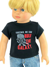 "Black Rule the Galaxy Shirt Top fits 18"" American Girl Doll Clothes Boy"