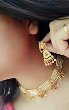 Indian Pakistan Bollywood Beaded Gold Plated Choker Necklace Earrings Party Wear