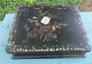 Papier-Mache Lap Desk Slanted Ladies Mother of Pearl Inlay Mid 1800's