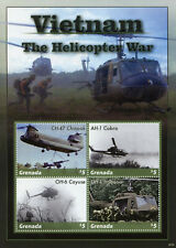 More details for grenada military stamps 2020 mnh vietnam war helicopters chinook cobra 4v m/s ii