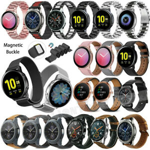 Fr Samsung Galaxy Watch 4 40mm 42mm 44mm 46mm Stainless Steel Leather Band Strap