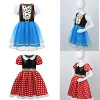Kids Girls Cowgirl Dress Costumes Puff Sleeves Tutu Mesh Halloween Party Clothes