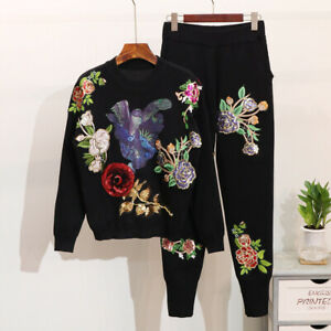 Womens Sequins Flower Long Sleeve Knit Sweater Pant Sets Floral Outwear Suits