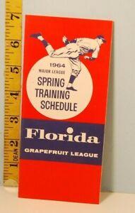 1964 Major League Baseball Spring Training Schedule Florida Grapefruit League #B