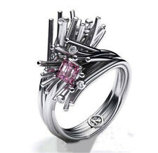 Simple Fashion Women  Silver Plated Pink Sapphire Wedding Proposal Ring Sizs 10