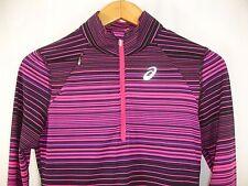 Asics Women's Quarter Zip Long Sleeve Pink Black Stripe Track Suit Top S NWOT