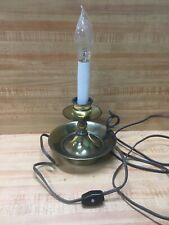 Vintage Brass Lamp Candle Stick Style Electric Drip Bowl Handle Colonial 11""