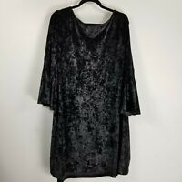 Gabby skye crushed velvet shift dress 24 plus flare sleeve black witch costume