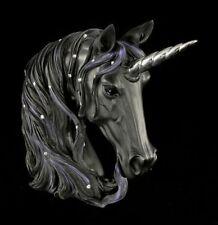 Midnight Enchanted Unicorn Head Jewelled Statue Mystical Ornament Black 15cm