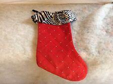 Christmas Stocking Animal Print Zebra Stripe Ruffled Top Black White Red Holiday