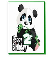Panda 2nd Birthday Card - Girls Boys Son Daughter Grandaughter Grandson Friend