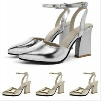 Block Heel Ankle Strap Solid Sandals Ladies Pointed Toe Buckle Pumps Slingbacks