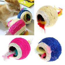 Sisal Rope Feather Ball Teaser Scratch Chew Play Toy For Pet Cat Kitten Hot