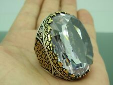 Turkish Handmade Jewelry 925 Sterling Silver Zircon Stone Men Ring All size