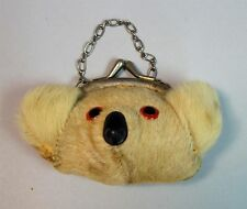 "Vintage 2"" x 3"" Fur Koala Bear Child's Coin Purse w Chain"
