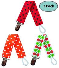 EliteBaby Unisex Pacifier Clip Holder, 3 Pack   Teething Toys, Soothie Pacifiers