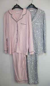 Marks & Spencer Cotton Modal Spot Print Pyjama Set Grey or Pink Size 6 - 20