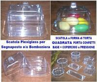 N.10 SCATOLA PLEXIGLASS a TORTA TORTINA con COPERCHIO Cm.8x8 BOMBONIERA CONFETTI