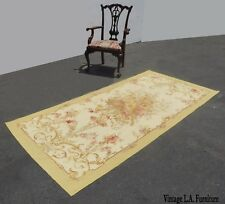 New listing Vintage Hand Knotted Wool Tan Floral Aubusson Tapestry Rug Made In France