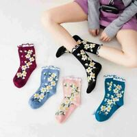 Women Girls Floral Ruffled Cotton Socks Middle Tube Casual Ankle Warm Socks XMAS