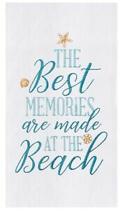 Best Memories Are Made at Beach Embroidered Flour Sack Kitchen Dish Towel