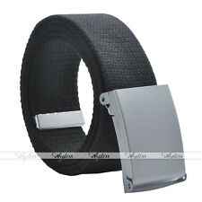 Cotton Canvas Military Thin Web Belt Solid Silver Alloy Roller Buckle Mens Women