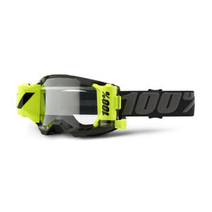 100 Percent Strata 2 Forecast Black Clear Lens Motocross Mud Goggles
