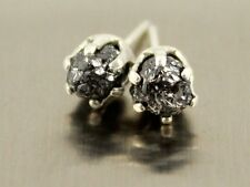 1.21+ ct Excellent Natural Rare Black Rough Diamond Sterling Silver Lady Earring
