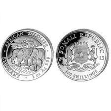 2013 Somalia 1 oz Silver Elephant 100 Shillings .999 Silver Coin in capsule