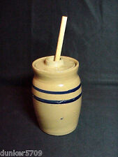 5 3/4 INCH TALL POTTERY CLAY STORAGE POT JAR WITH LID & STICK JAM HONEY SYRUP #2