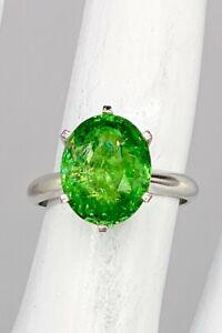 Designer $20,000 7ct Natural Tsavorite Garnet Platinum Wedding Ring