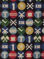 Steam Team Thomas the Train 100% cotton fabric by the yard Railroad Signs emblem
