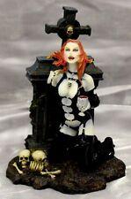 Celtic Cross Vampiress With Chalice of Blood Succubus Cemetery Vampire Figurine