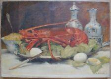Tableau Realisme Nature morte Oeuf et Homard peinture XIXème signée E. Renard
