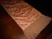 Formal Table Runner w/Heavy Gold Fringe Salmon 12x83 New (3 Available)