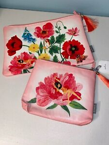 Oana Befort makeup travel bag pouch floral flowers butterfly pink large small B4