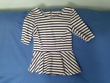 Womens Size 10 - White with Navy Blue Stripes Short Sleeve Top -  BHS