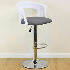 Tall Adjustable Swivel Stool White/Grey/Chrome Breakfast Pub Bar Bistro Chair
