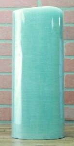 """Luminara 15"""" Flameless Pillar Rustic Finish Candle Teal Blue"""